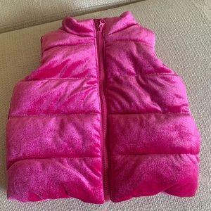 EUC Gymboree FUSHIA Velvet Puffy Vest 6-12m
